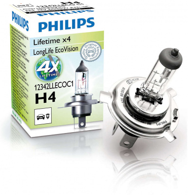 Philips LongLife EcoVision H4 Glödlampa - 60/55W, 12 V